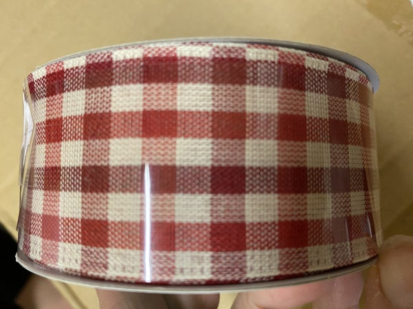 "1.5""x10yd gingham check burg/red/ivory"