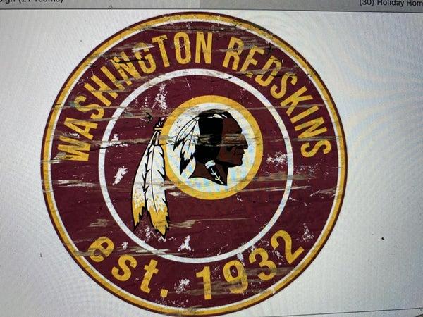 """12"""" Destressed Wooden NFL Circle Sign - Washington Redskins"""