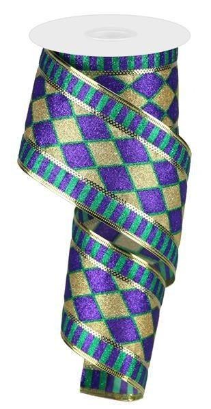"2.5""X10yd Glitter Harlequin Stripe Dk Purple/Gold/Dk Green"