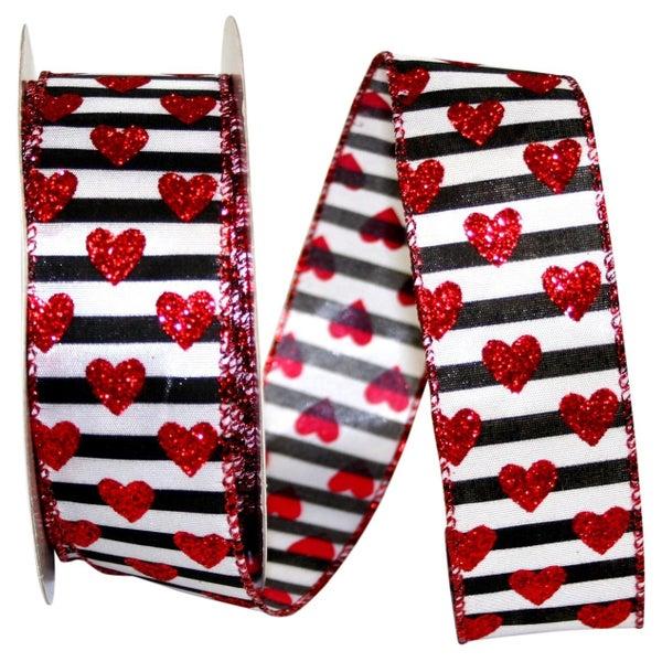 Glitter Heart Stripes Wired Edge, Multi, 1-1/2 Inch, 20 Yards-MULTI