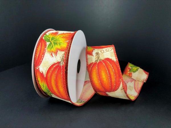 """Tan-Cream Chex/Pumpkins 1.5""""x10yd"""