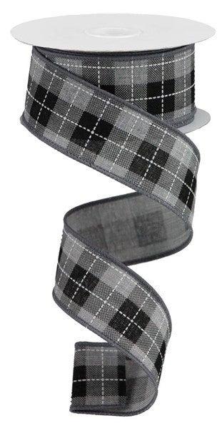 "1.5""X10yd Printed Woven Check On Royal Color: Light Grey/Black/White"