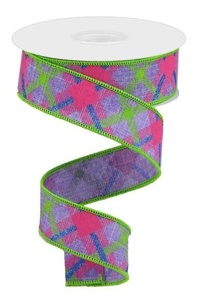 "1.5""X10yd Printed Plaid On Royal Color: Lav/Lime/Hot Pink/Blue"