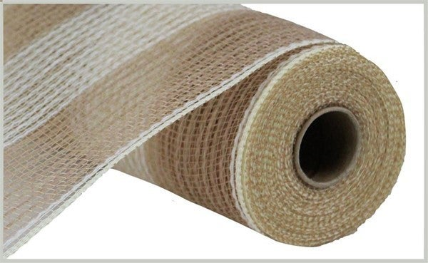 "10.5""X10yd Faux Jute/Pp Wide Stripe Natural/Cream"