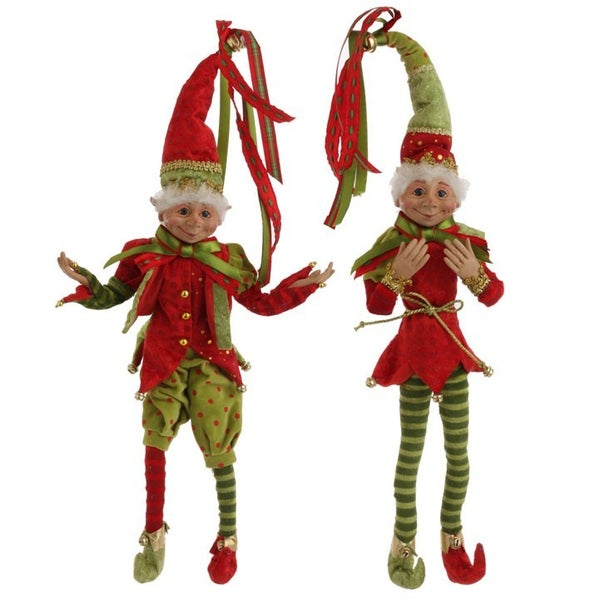 """15\"""" POSABLE ELF Red/Green"""