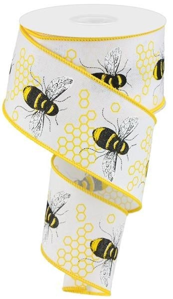 "2.5""X10YD HONEY BEE ON ROYAL WHITE/YELLOW/BLACK"