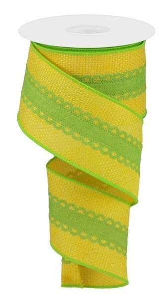 """2.5""""X10yd Royal Lace On Cross Royal Color: Sun Yellow/Lime Green"""