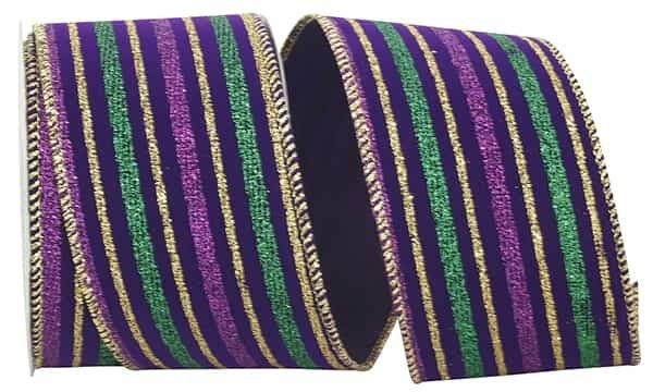 "VELVET STRIPE MARDI GRAS WIRED EDGE 2.5""x10yd"
