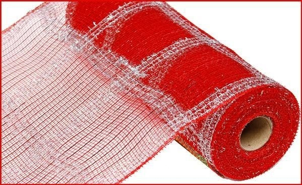 "10.5""X10yd Wide Tinsel/Pp/Foil Check Red/Silver"