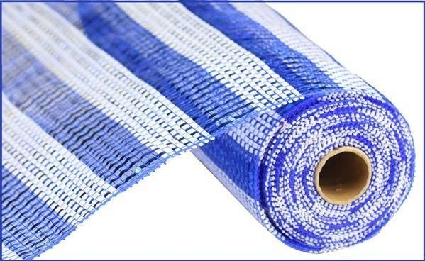 "10""X10yd Horizontal Stripe Foil/Mesh Blue White"