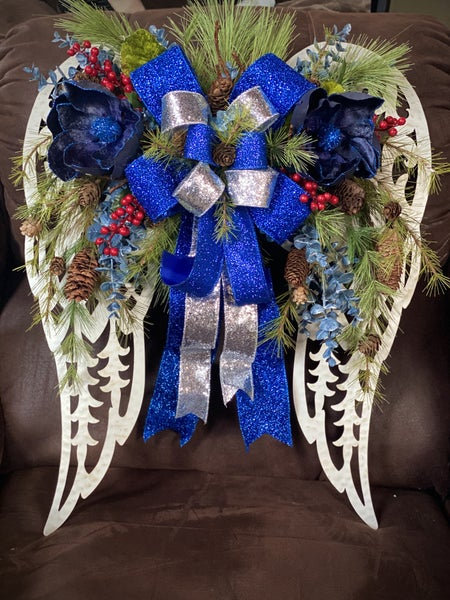 "24"" Blue Christmas Angel Wing"