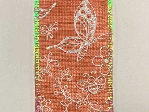 "CORAL LINEN/WHT-IRID FLWRS-BEES, 2.5""X10Y"