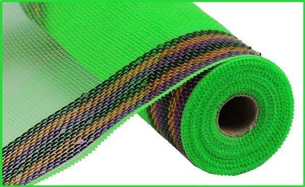"10.5""X10yd Border Stripe Metallic Mesh Lime/Purple/Orange/Black"