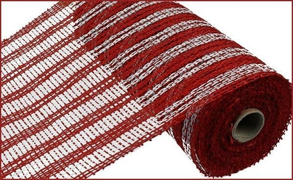 "10""X10yd Poly Burlap Double Stripe Mesh Red"