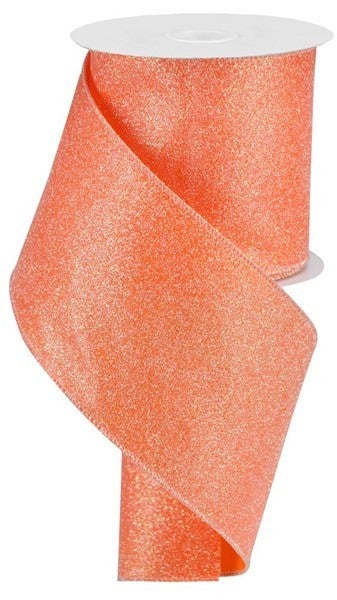 "4""X10yd Iridescent Glitter On Satin Color: Orange/Iridescent"