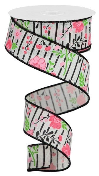 """1.5""""X10yd Floral Lines On Royal  Ivory/Multi Pink"""