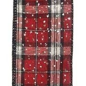 "Black-Red-Silver Metallic Plaid/Silver Glitter 2.5""x10yd"