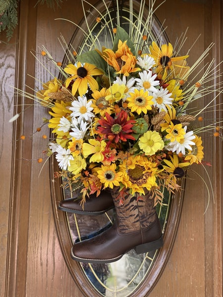 Cowboy Boot Floral Door Hanger