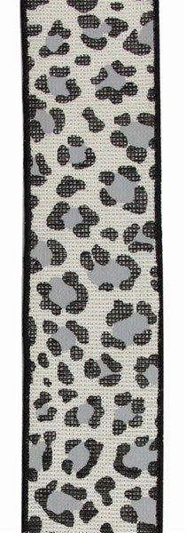 "2.5""X10yd Leopard On Cotton/Met Color: Ivory/Silver/Black/Grey"
