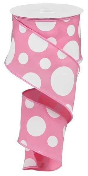 "2.5""X10yd Giant Two Size Dots/Pg Fabric Pink?white"