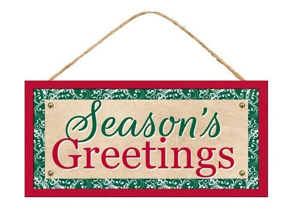 """12.5""""L X 6""""H Season's Greetings Sign Color: Red/Green/Beige/White"""