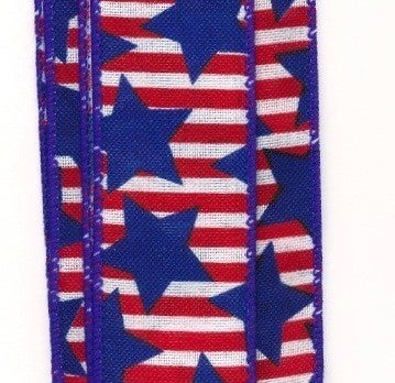 "WHT-RED LINEN/BIG BLUE STARS, 2.5""X10Y"