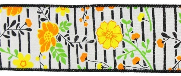 """4""""X10yd Floral Lines On Royal  Ivory/Orange/Yellow 1"""
