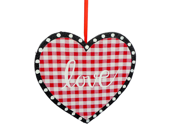 Orn Love Checker Heart W8xH8 Red/White/Black