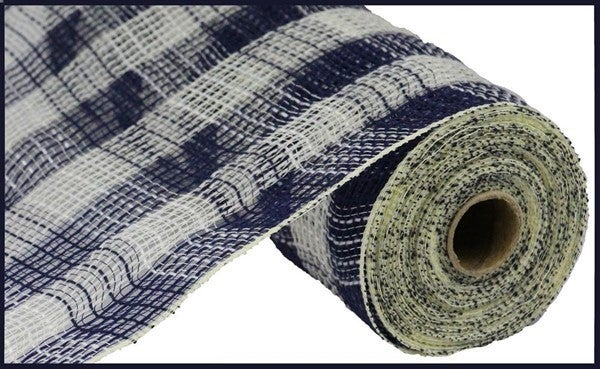 "10.5""X10yd Faux Jute/Pp Small Check Navy/Cream"