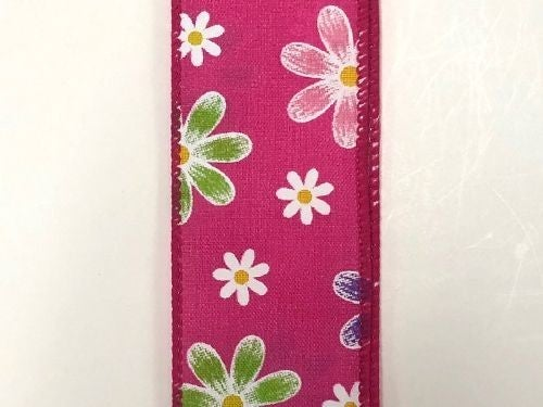 """FUCH STN/BRUSHED SPRING DAISIES, 1.5""""X10Y"""