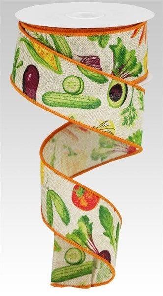 """1.5""""X10yd Vegetables/Royal Light Natural"""