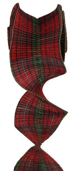 "5.5""X5yd Pleated Plaid/Check Ribbon Color: Red/Burgundy/Green/Gold"