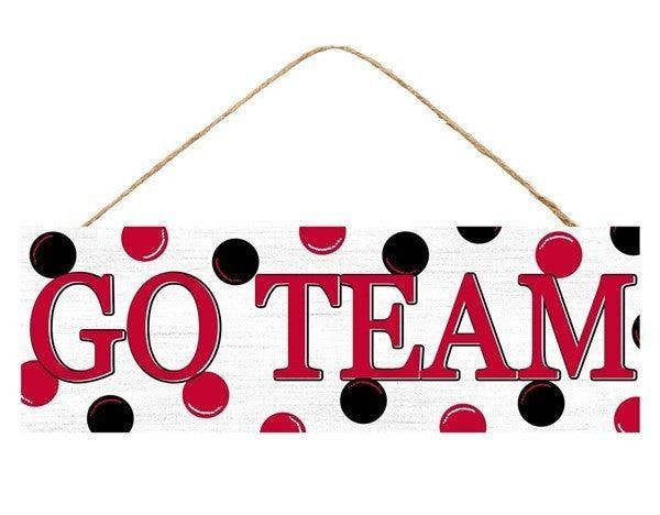 """15""""L X 5""""H Go Team/Polka Dots Sign"""