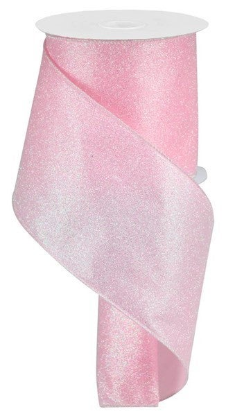 "4""X10yd Iridescent Glitter On Satin Light Pink/Iridescent"