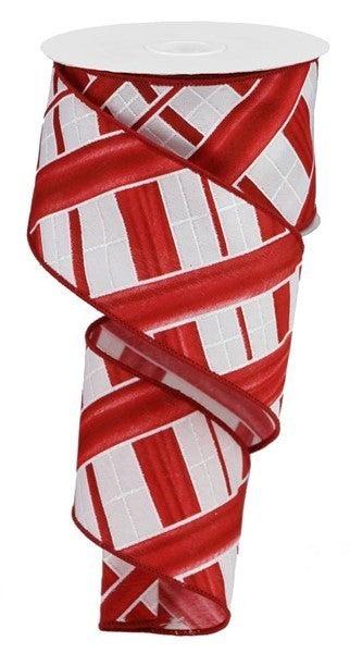 "2.5""X10yd Two Tone Stripe Check White/Red"