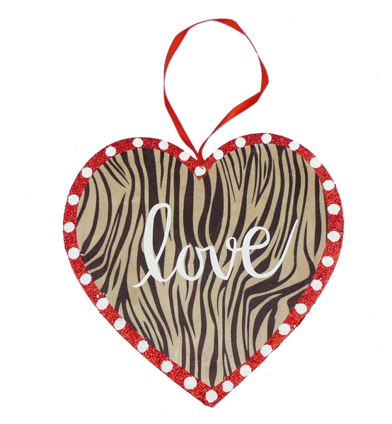 Orn Heart Love W8xH8 Zebra