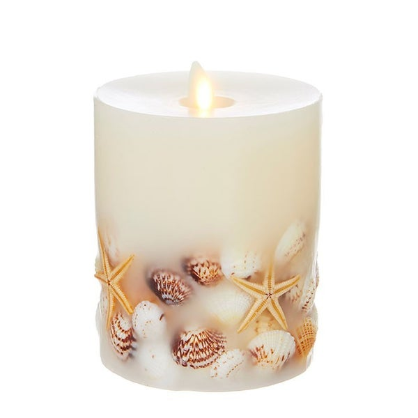 "4""X5"" Moving Flame Seashell Pillar Candle"