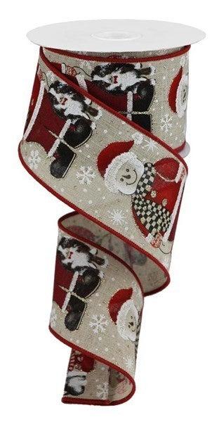 "2.5""X10yd Santa Snowman W/Dog Lt. Natural"