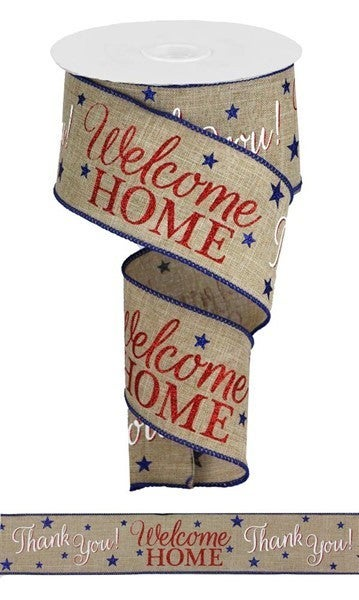 "2.5""X10yd Patriotic Welcome Home Lt Beige/White/Red/Blue"