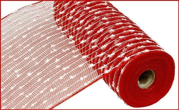 """10.5""""X10yd Snowball/Poly Mesh Red/White"""