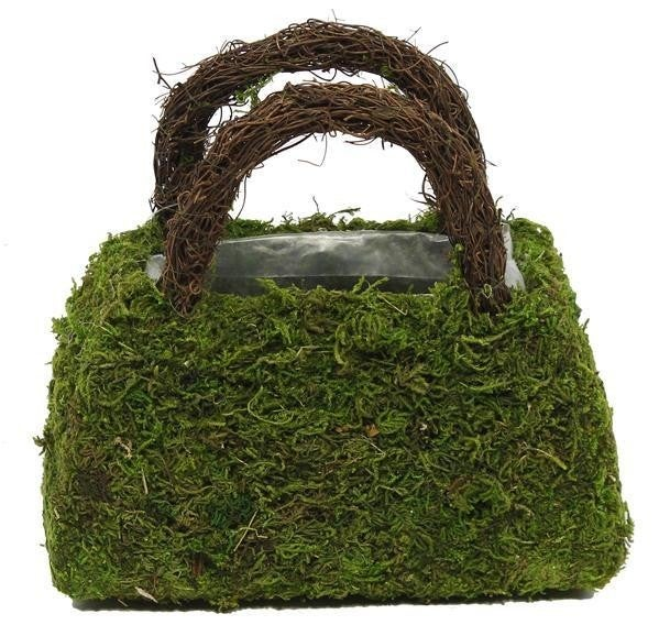 "8""L Moss Purse W/Handles Planter"