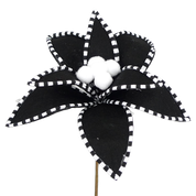 Velvet Peppermint Edge Poinsettia Pick DIA11xH11 Black