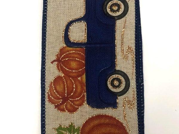 """Natural Linen/Cobalt Blue Truck-Pumpkins 2.5""""x10yd"""