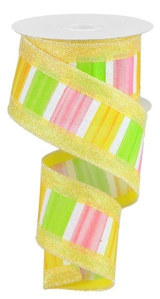 """2.5""""X10yd 3-In-1 Watercolor/Glitter Color: Yellow/Pink/Green/White"""
