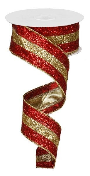 "1.5""X10yd 3 In 1 Glitter Red/18K Gold"