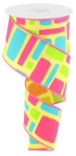 "2.5""X10yd Bold Brush Strokes/Royal Color: Ylw/Fuchsia/Turq/Lime"