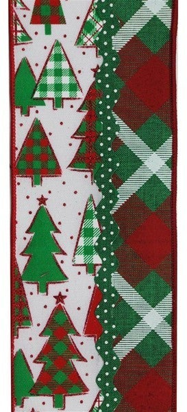 """4""""X10yd 3-In-1 Christmas Tree/Ricrac Emerald/Red/White"""