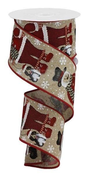 """2.5""""X10yd Santa Snowman W/Dog Color: Lt Beige/Blk/Red/Org/Brn"""