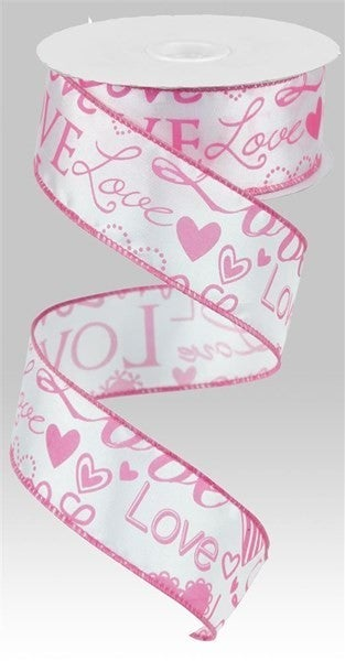 """1.5""""X10yd Love Font W/Hearts White/Pink"""