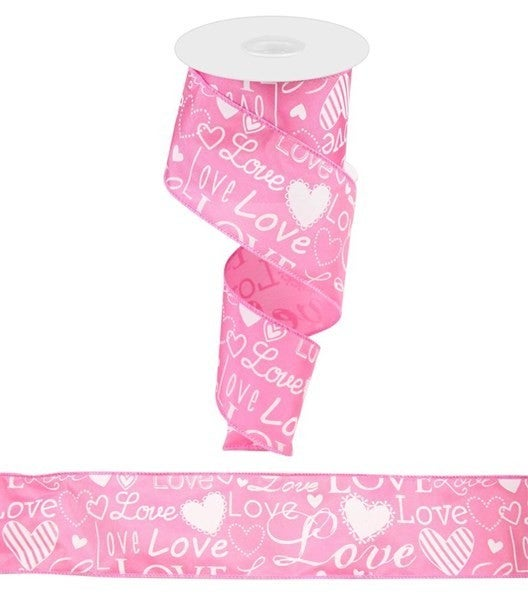 "2.5""X10yd Love Font W/Hearts Pink"